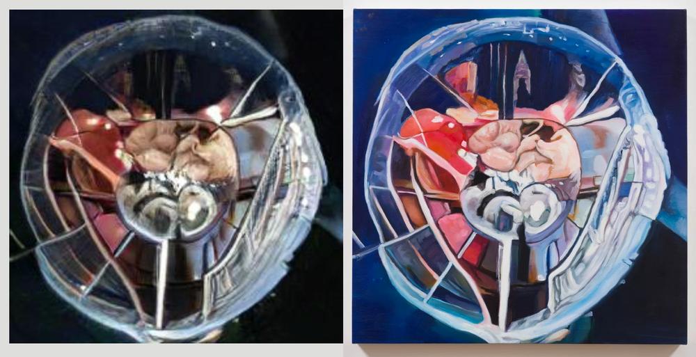 Left, GANbreeder image by Danielle Baskin. Right, GANbreeder image painted on canvas commissioned by Alexander Reben