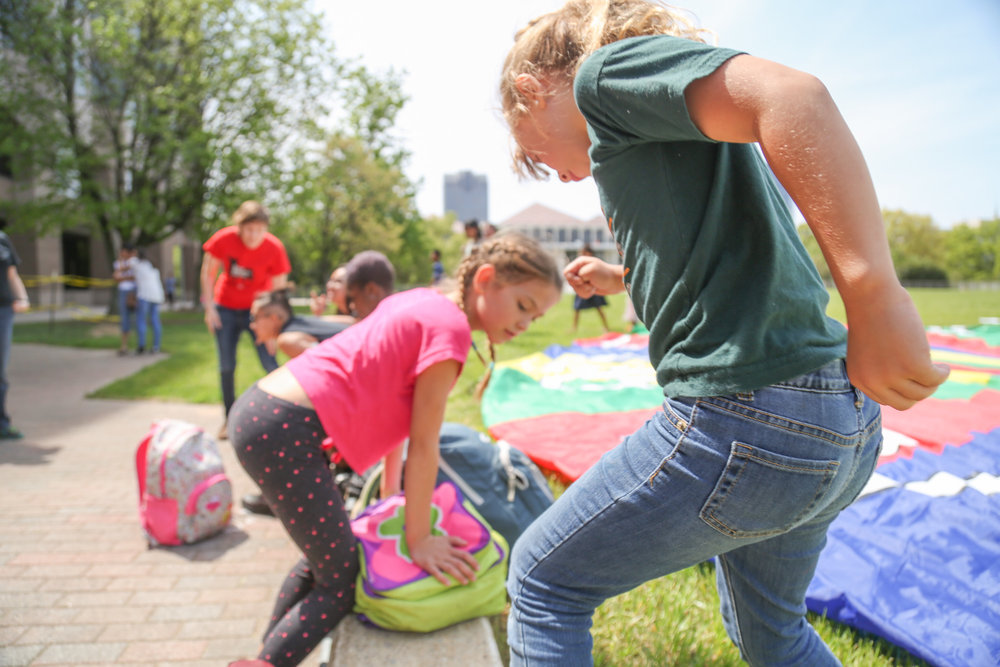 "Children play before the event of ""Kids in NC say: We Belong Together! Nos Mantenemos Unidos!"" on April 12th, 2017. It's an event for young people especially children who are affected by Trump's muslin ban to stand up for their families and future and speak out on the new immigration policies."