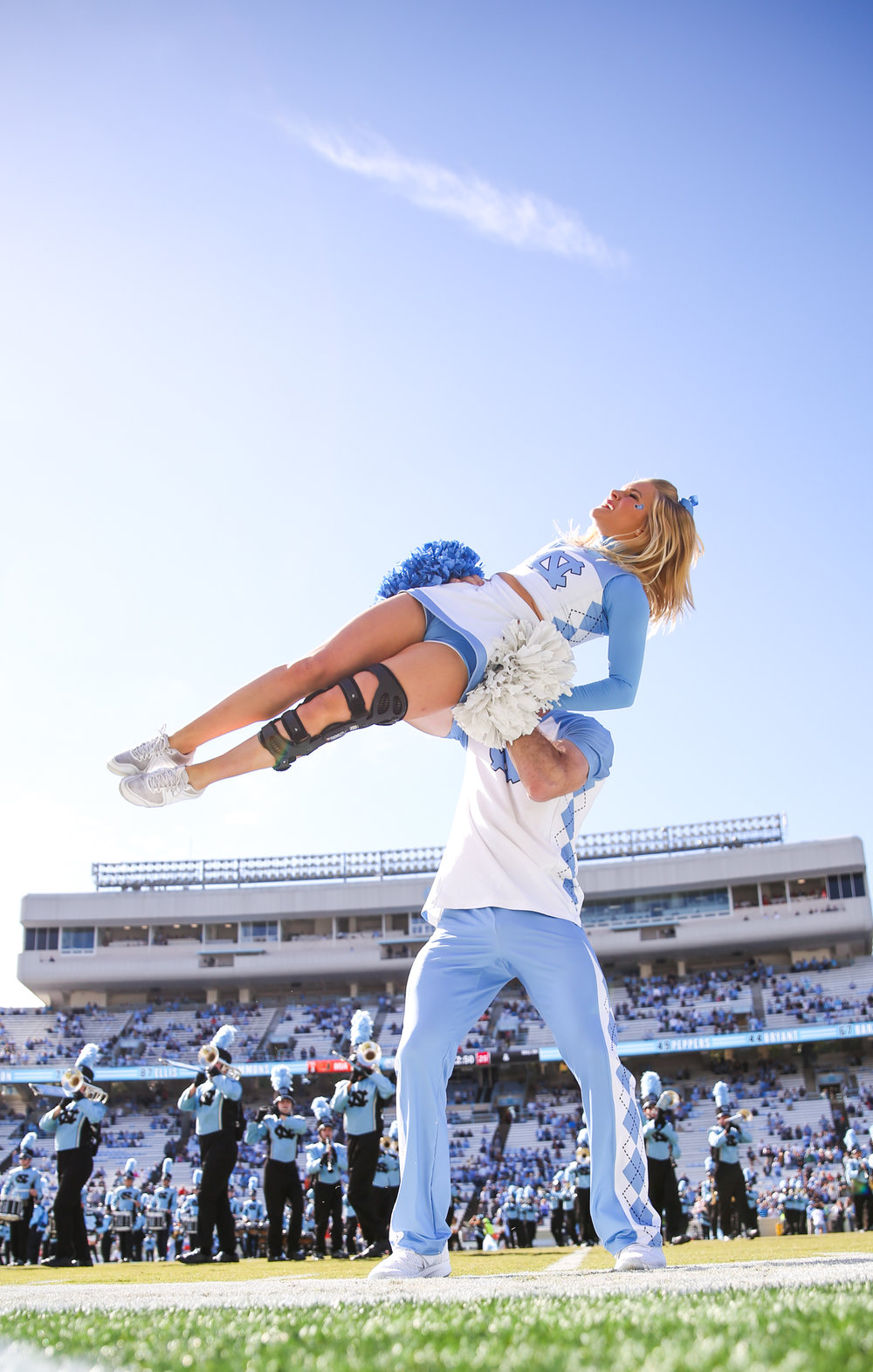 UNC cheerleading team performe before the game. Miami defeated UNC 24-19 at Kenan Stadium on UNC campus on Sat. Oct.28, 2017.