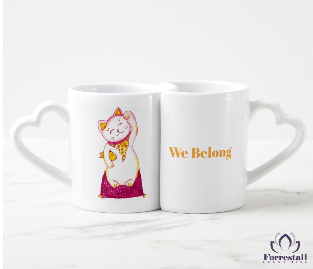 Lucky Cat Nesting Mugs - Front