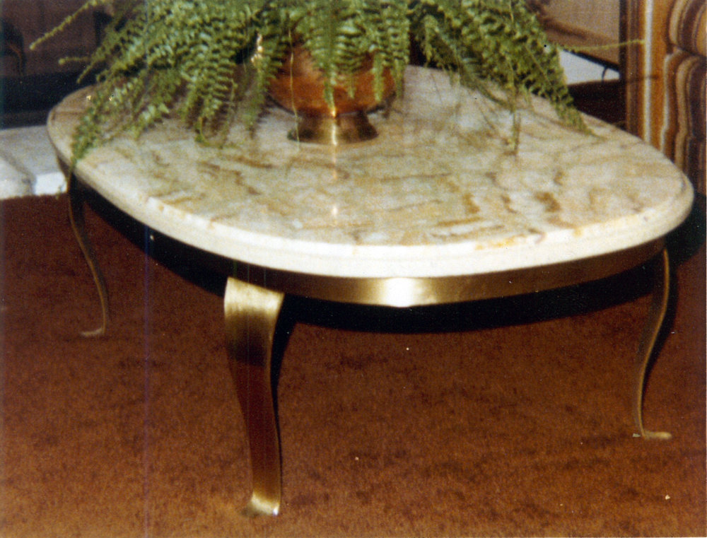 Coffee Table: Bronze Base, Marble Top