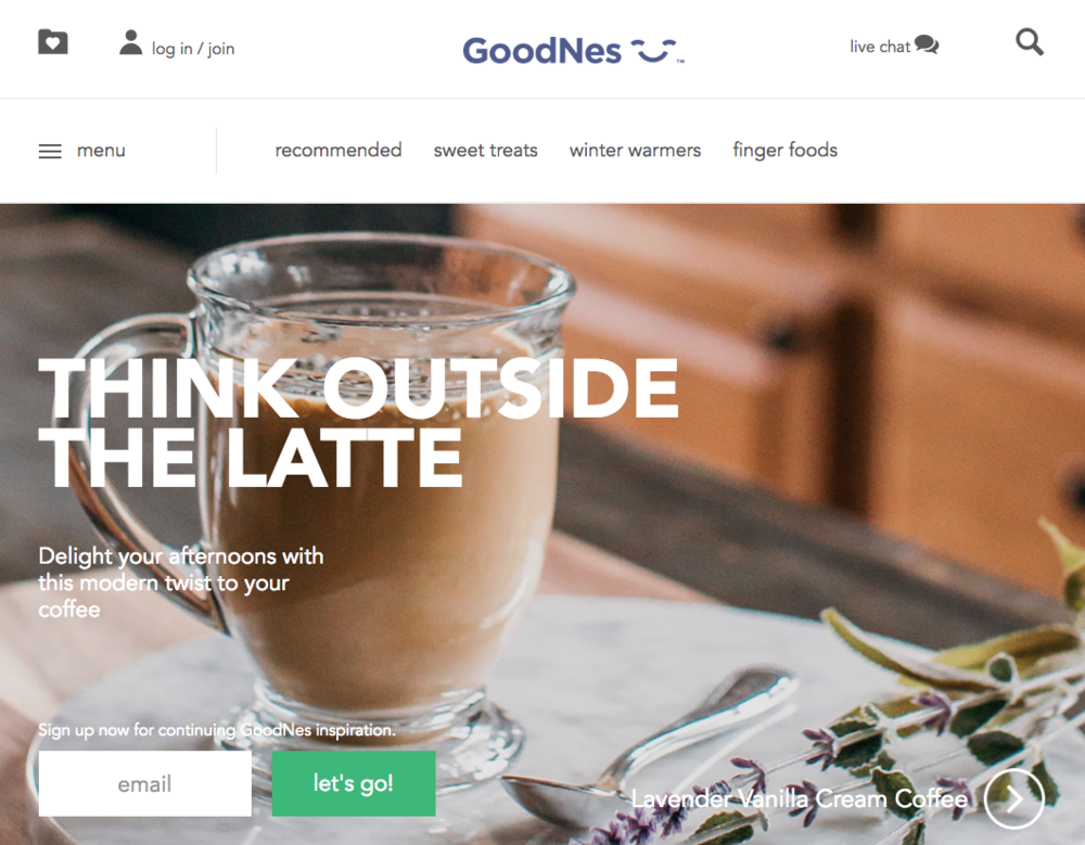 Nestlé - I partnered with the ACD on the development of the voice of the Goodnes product. I wrote tag lines, proposed creative concepts and wrote messaging for emails and user-facing features. I also participated in several naming exercises for the final product.