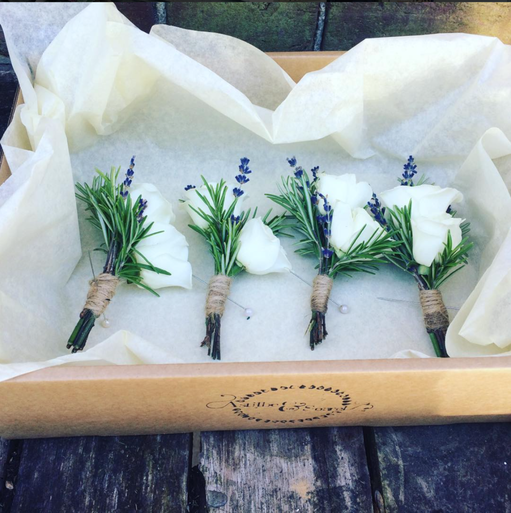 Lavender, Rosemary and White Rose Buttonholes