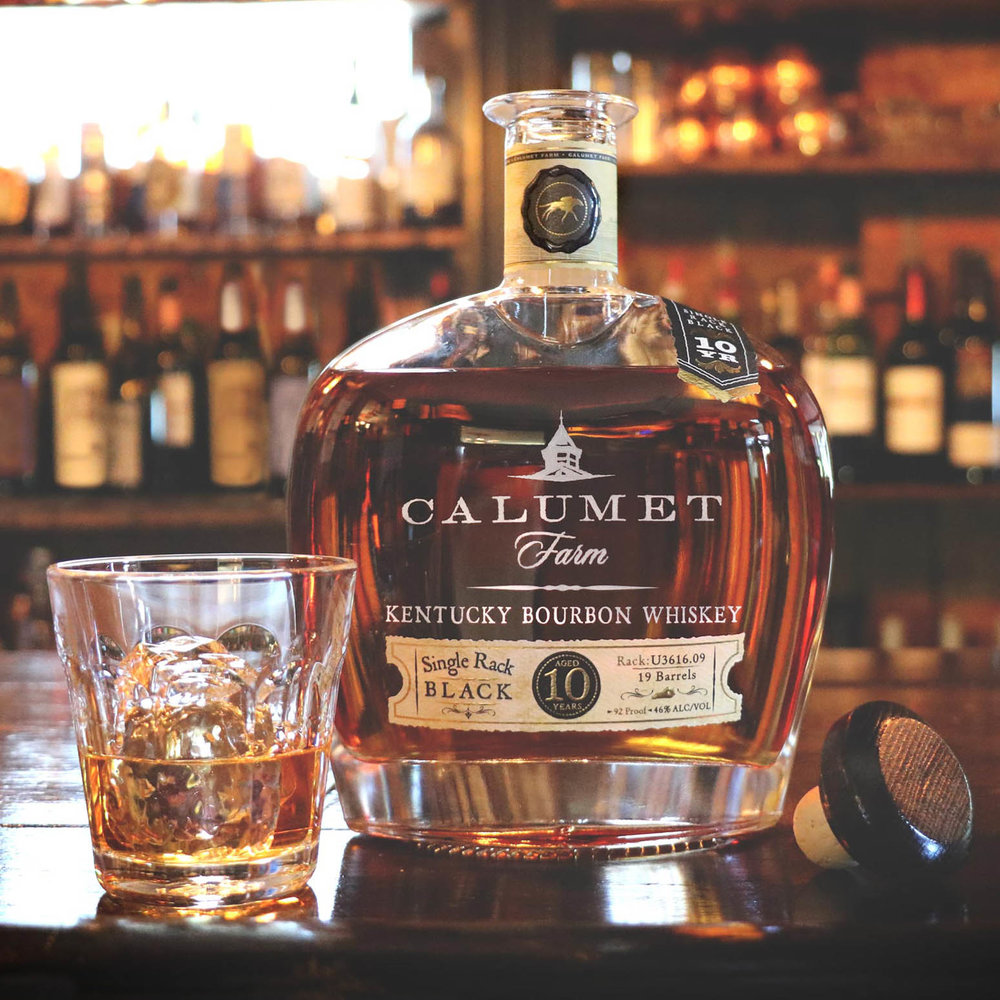 Single Rack Black with Drink - ©Calumet Farm Bourbon Whiskey