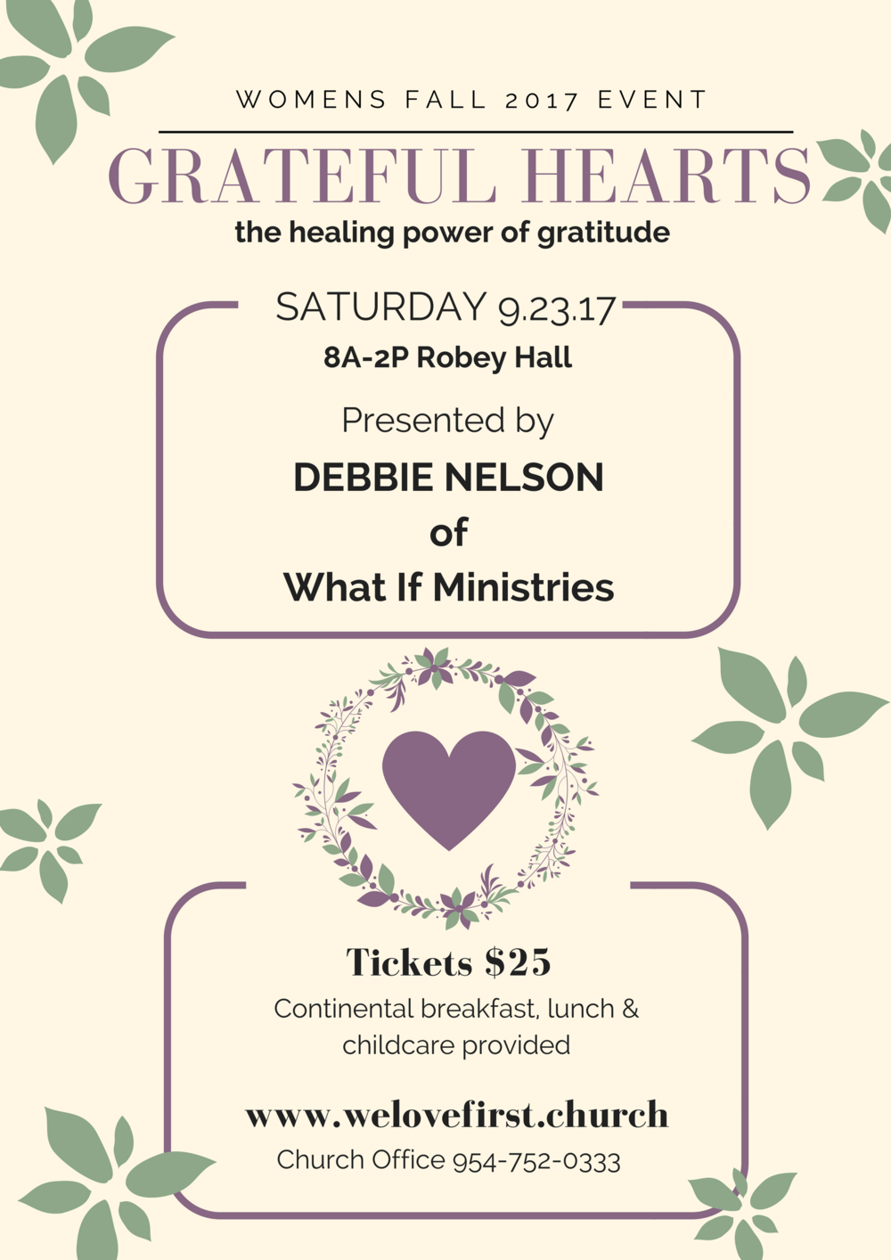 Fall 2017 womens ministry event first church coral springs join us at first church coral springs on saturday september 23rd for a faith filled day of learning fellowship and fun pastor debbie nelson will share mightylinksfo