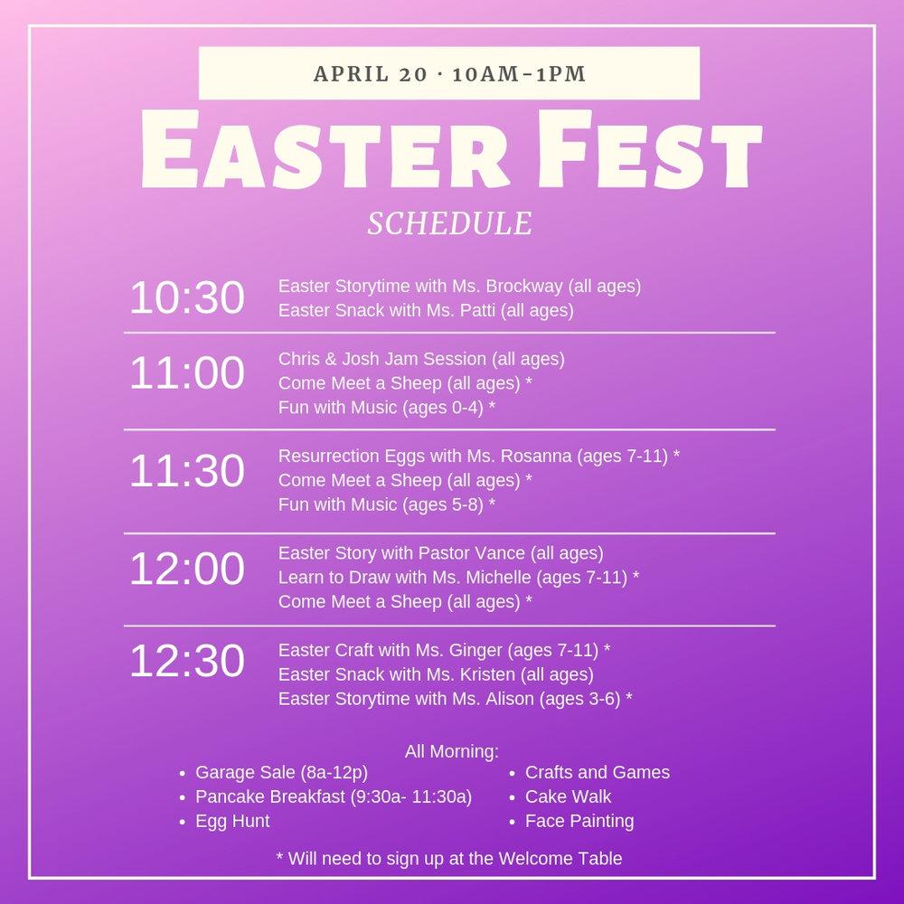 East Fest Schedule