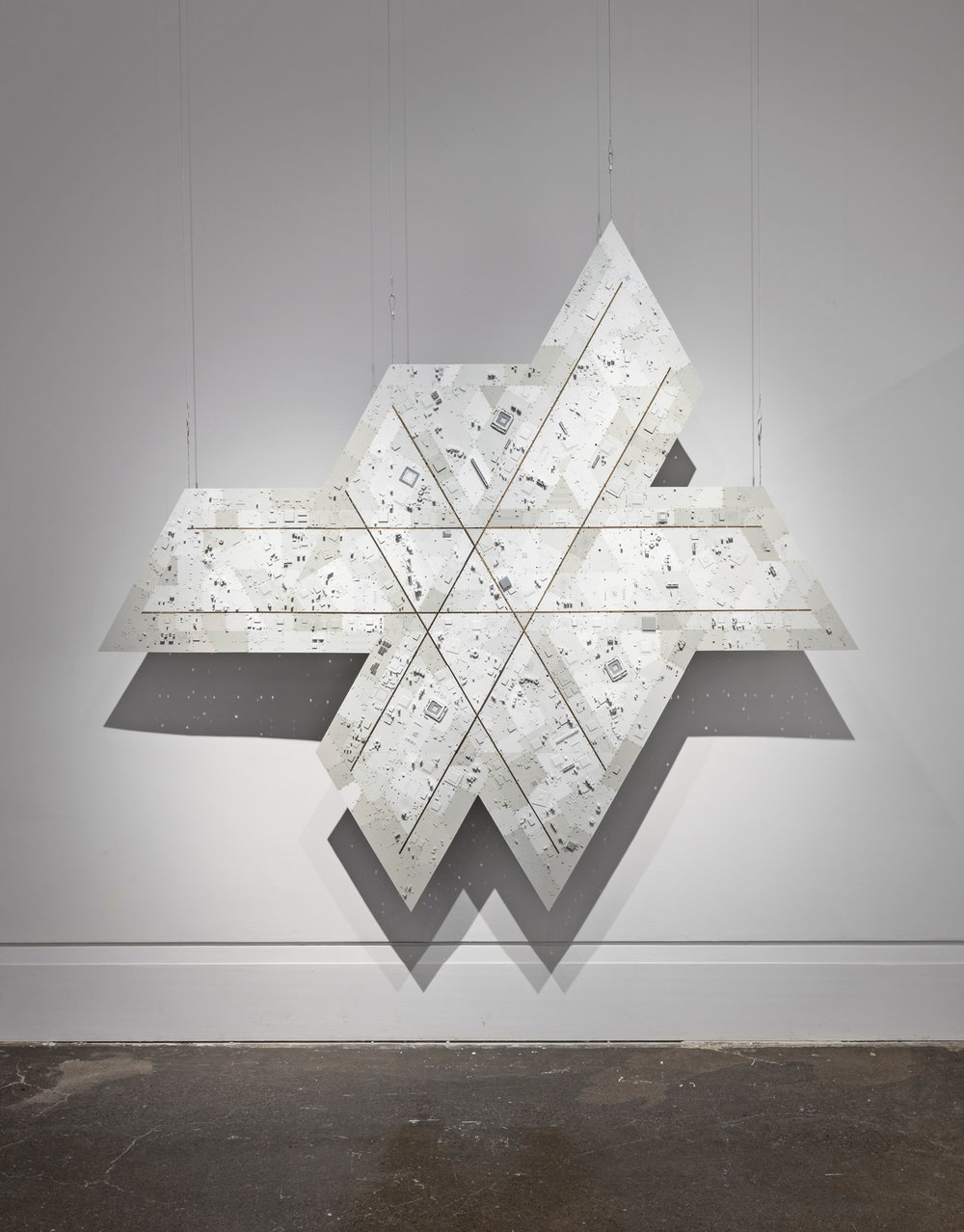 Wally Dion,   Icosahedron , 201, circuit boards, wire, enamel paint, 83h x 90w .  Exhibition at Urban Shaman Gallery, Winnipeg, MB.