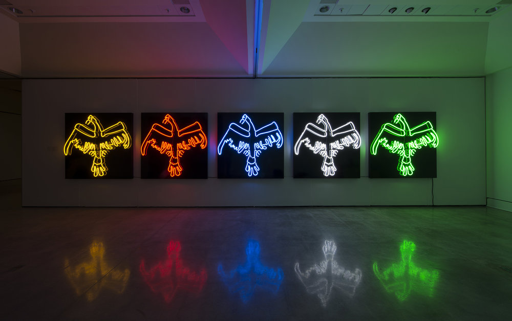 Duane Linklater   ,  Tautology , 2011–2013. Classic gold neon (yellow), clear red neon, horizon blue neon, snow white neon, E-10 neon (green); aluminum, enamel, transformer, 152.4 x 152.4 cm, edition of five. Courtesy of the artist and Susan Hobbs Gallery. Photo: Steve Farmer.