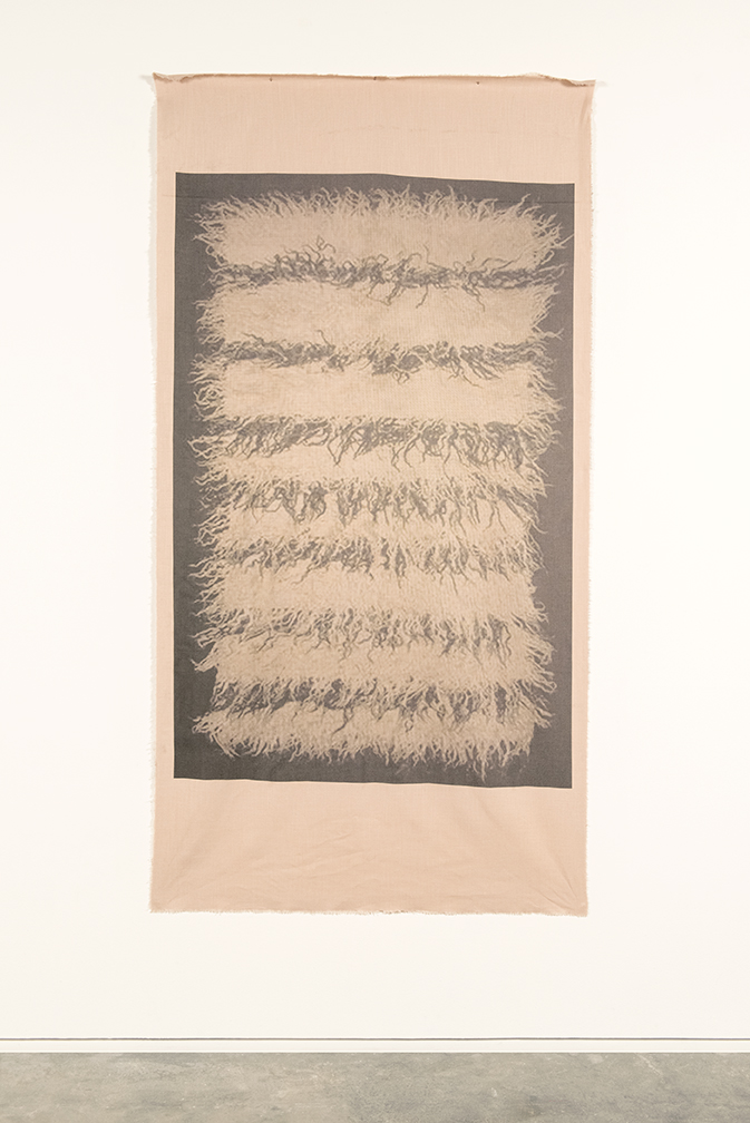 Duane Linklater,   UMFA 1974.079.091.050 , 2015. Inkjet print on linen, nails, from Navajo Saddle Blanket, Utah Museum of Fine Arts Collection, 215.9 x 111.76 cm .  Image: courtesy of Catriona Jeffries, Vancouver. Photo: SITE Photography.