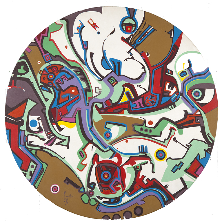 Alex Janvier ,  Wounded Knee Boy , 1972, acrylic on wood, 121.9 cm (diameter). Courtesy of the artist and Janvier Gallery, Cold Lake First Nations © Alex Janvier. Photo: Don Hall, courtesy of the MacKenzie Art Gallery