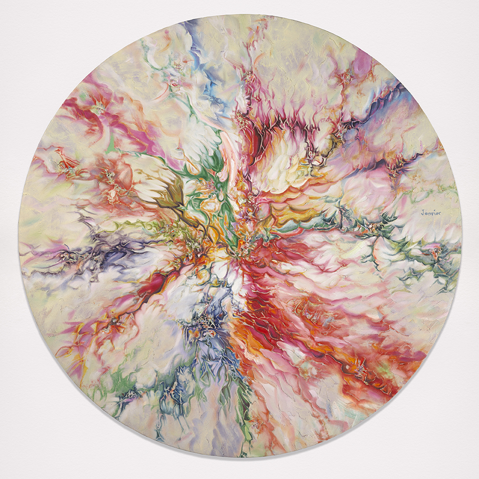 Alex Janvier ,  Spring Equinox , 2002, oil on linen, 160 cm (diameter). Courtesy of the artist and Janvier Gallery, Cold Lake First Nations. © Alex Janvier. Photo: NGC
