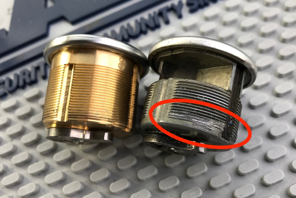 """On the right is a """"CROSS-THREADED"""" mortise cylinder INSTALLED in a store front lock by a licensed SAN DIEGO locksmith COMPANY. It practically fell out of the lock BODY AFTER THE SET-SCREW WAS REMOVED."""