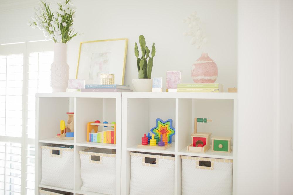 YWF playroom toy shelf