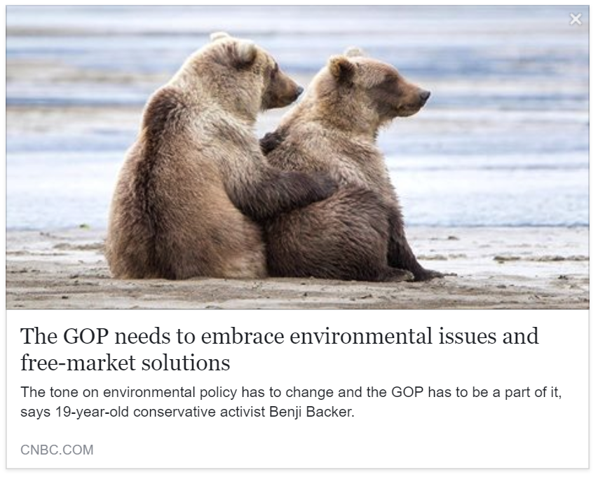 CNBC - The GOP needs to embrace environmental issues and free-market solutions