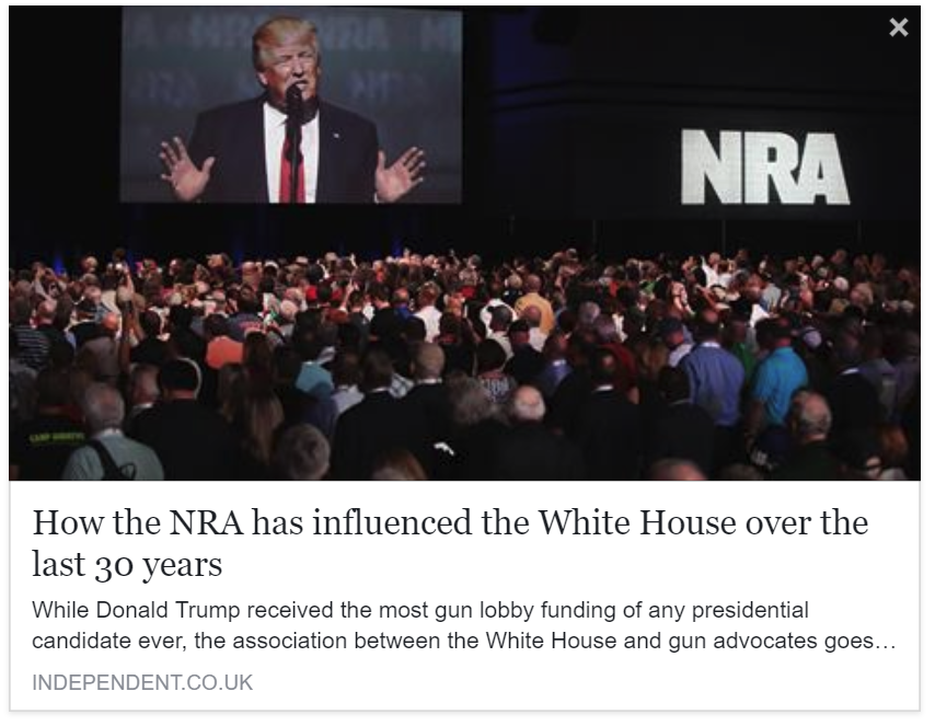 Independent - Las Vegas shooting: How the NRA has influenced the White House over the last 30 years