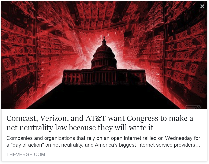 The Verge - Comcast, Verizon, and AT&T want Congress to make a net neutrality law because they will write it
