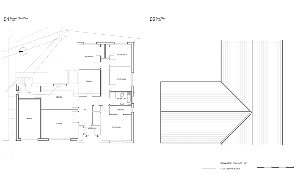 Existing Ground floor and Roof plan