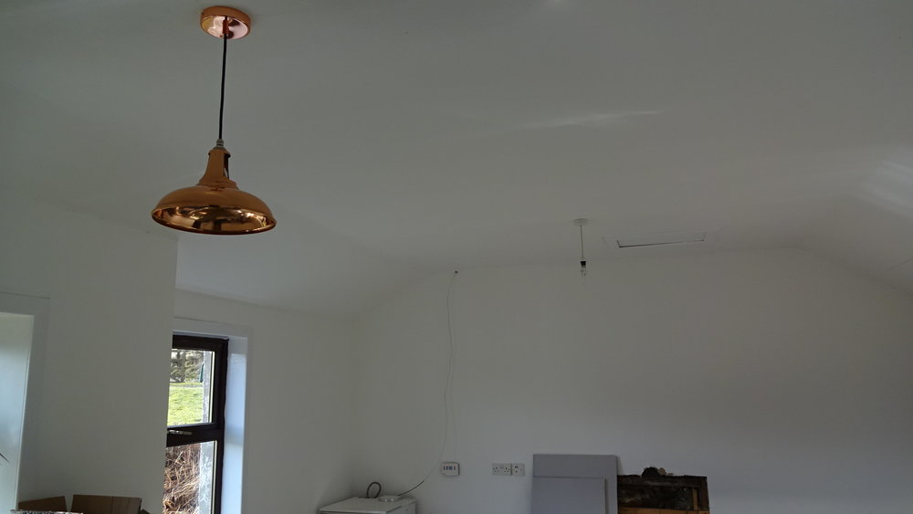 All that was left to do was to push the copper rose up to the ceiling and fix it to the surface bracket using the screws provided - a fairly tidy finish!