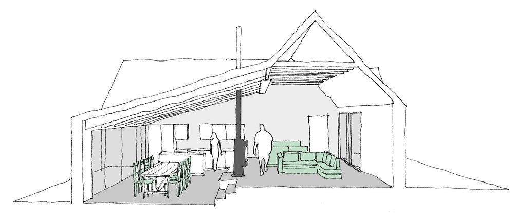 section showing relationship between snug area, double sided stove and dining area - note the steel beam separating old from new and exposed ceiling timbers