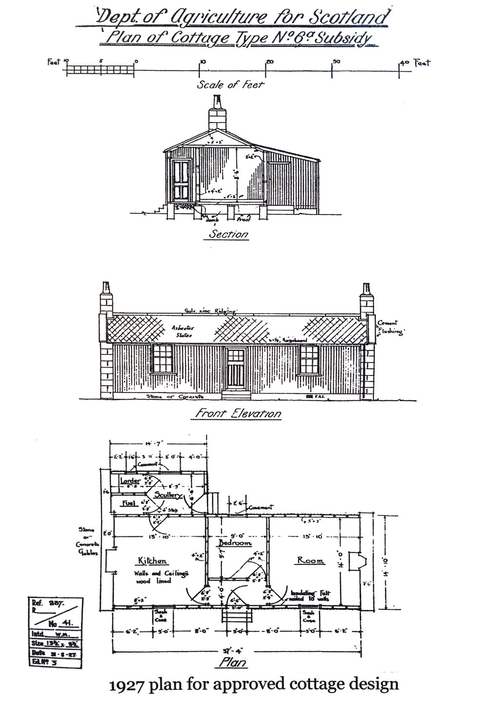 The original croft house was based on a generic plan of three habitable spaces with a connecting hall and entrance the front elevation. To the rear, a lean-to provided a scullery, larder and coal store.  Image courtesy of  Skye and Lochalsh Archive Centre  in Portree
