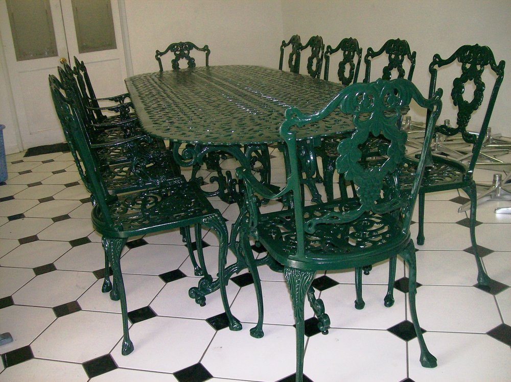 St Tropez 10 seater table with Laurel diner and Laurel carver chairs