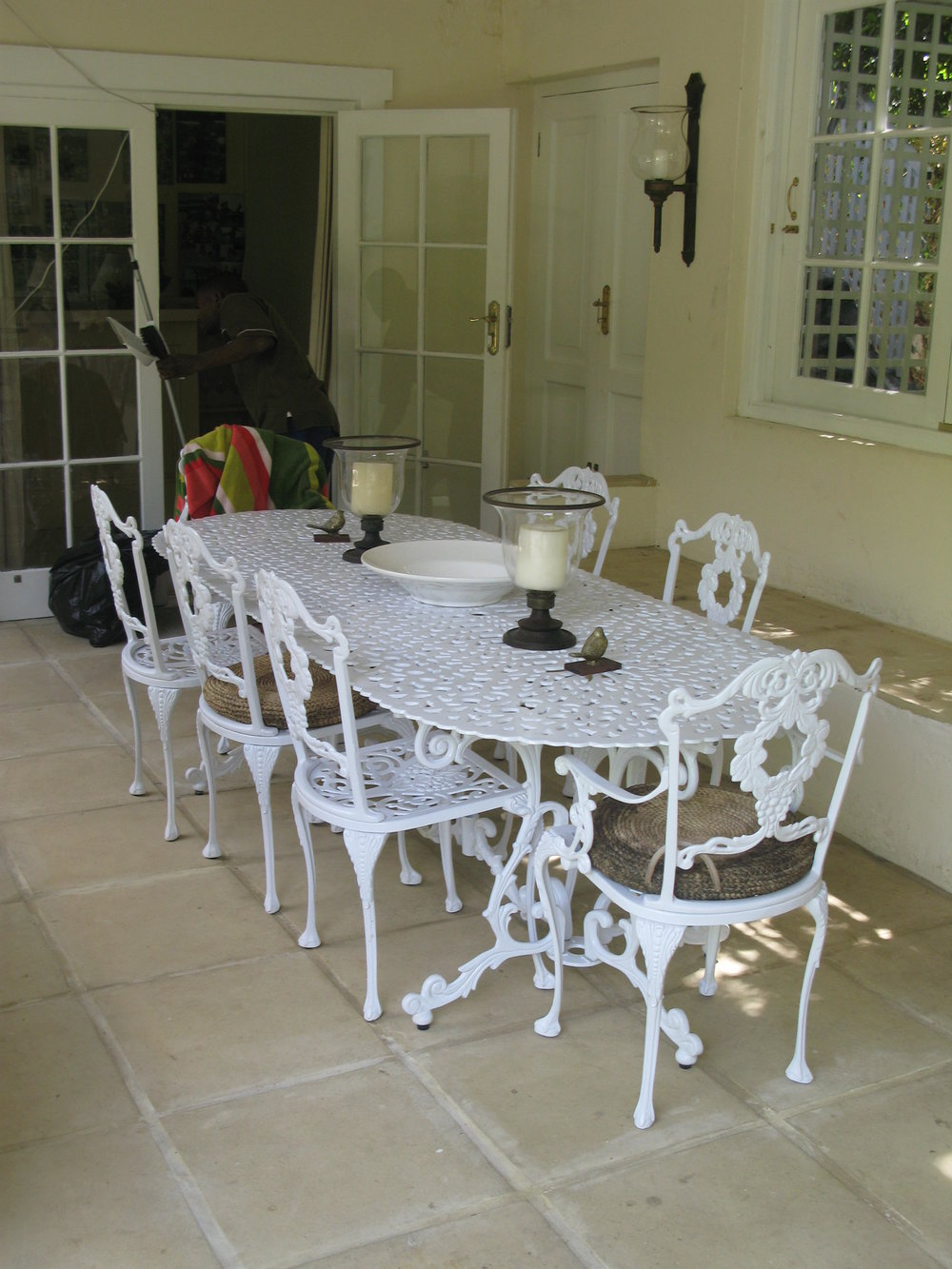 St Tropez 8 seater table with Laurel diner and Laurel carver chairs