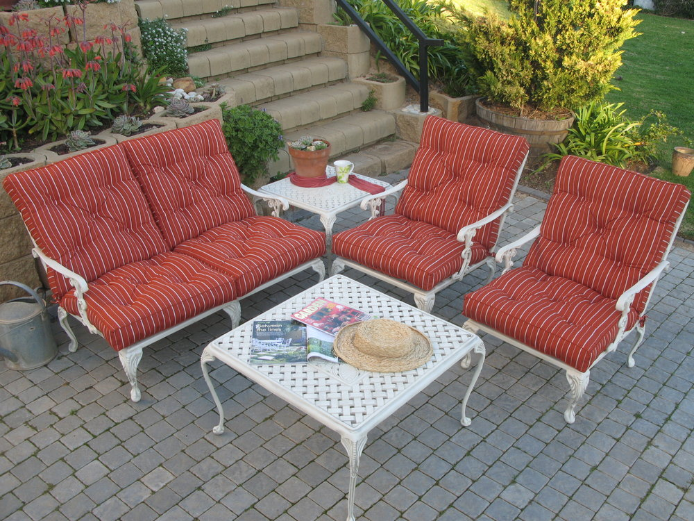 St Tropez 1 and 2 seater lounger chairs with St Tropez 50cm side table