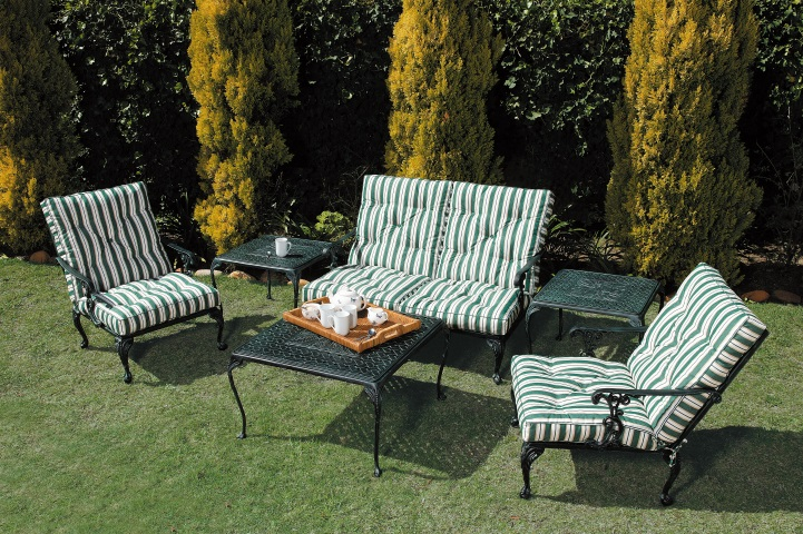 St Tropez 1 and 2 seater lounger chairs with St Tropez 50 & 75cm side tables