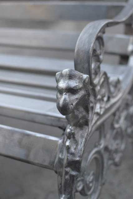 Lion's head bench detail