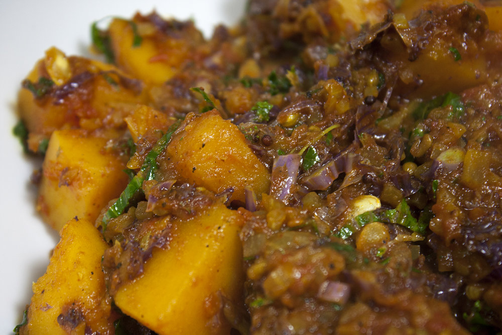 squash spinach curry -