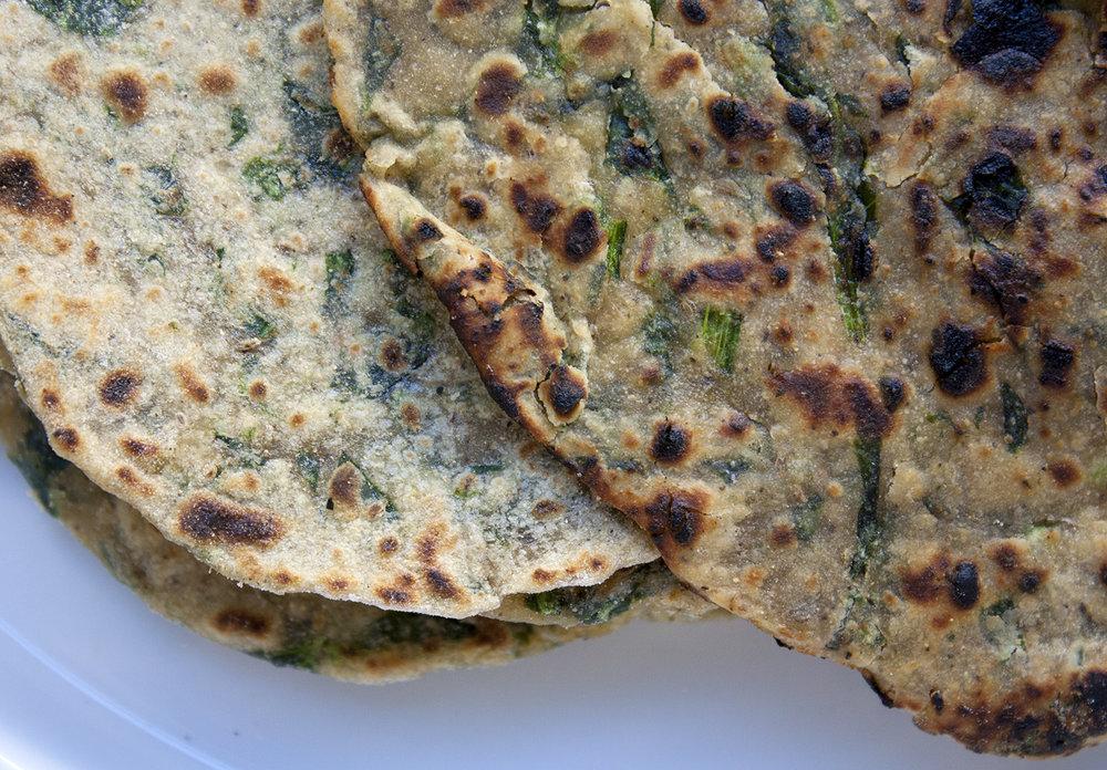 spinach roti -