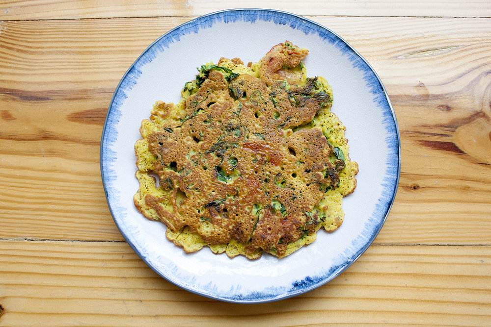 kale & peppers chickpea chilla -