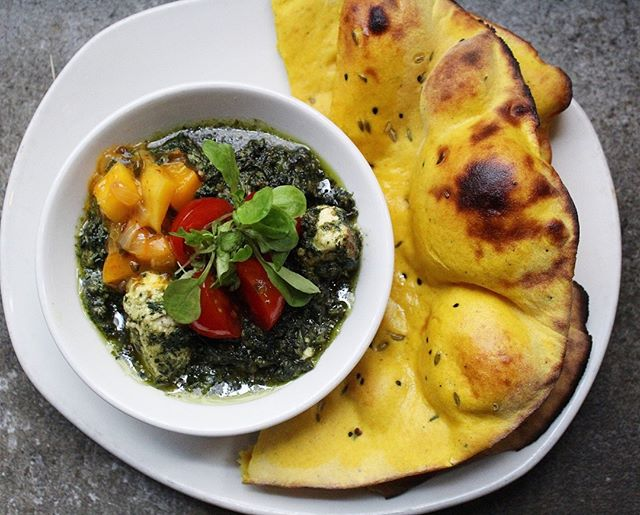Roasted Paneer & Saag served with Turmeric & Sweet Potato Naan served for lunch every weekday. Who doesn't love some green in their lunch (our saag not only has fresh spinach, but also lots of fresh mustard greens)! . . . . #pondicherinyc #livespicy #keepcalmandcurryon #saagpaneer #eatyourgreens #naan #eeeeeats #nyeater #buzzfeedfood #eater #buzzfeast #foodporn #nomnom #yum #foodporn #nycfoodie #foodie #foodstagram #instafood #indianfood