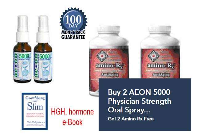 2 AEON 5000 Oral Spray Growth Hormone Enhancement and Hormone Stabilizer with Growth Factor & 2 Amino Rx™ FREE PLUS HGH, hormone RESEARCH eBOOK       Our #2 Seller for Peak Welbeing 60 Day Supply $129.95     CLICK HERE