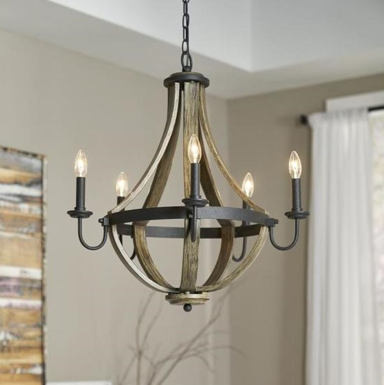 """Fixtures that draw the buyer in to an experience and make them say """"I need this house!"""" are what you are looking for. They must be trending fixtures, however. Stay away from lighting that is on the fringe or outdated. If you don't know what those trends are, subscribe to our email list for monthly updates and to our Facebook page for regular content that will help you with your rehabs! (Source:Kichler Merlot 25-in 5-Light Distressed black and wood Barn Candle Chandelier from Lowes)"""