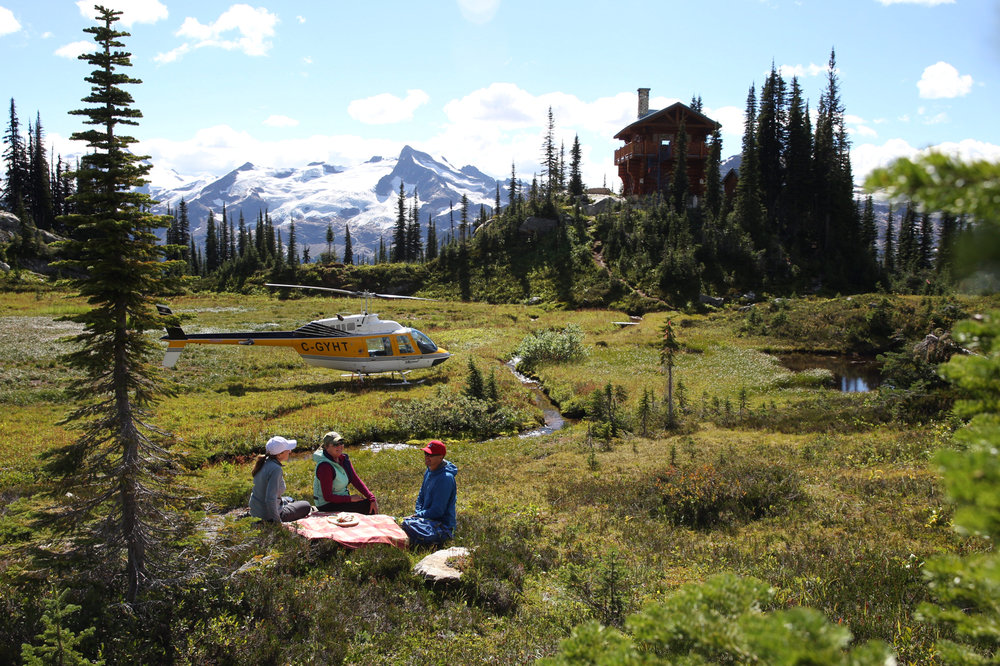 Grizzly Hut Lunch - Join us for a fantastic catered heli-lunch at the Grizzly Hut. Guest can enjoy a picnic lunch while relaxing on the deck of a private cabin located at over 6000ft deep in the Monashee Mountains.
