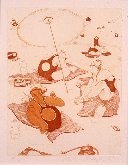 Beach Scene, 2001, etching on paper, 8 7/8 x 6 7/8 inches