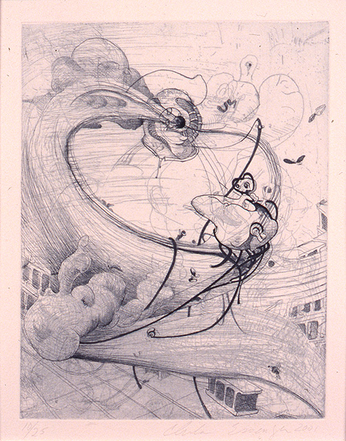 Tornado, 2001, etching on paper, 8 7/8 x 6 7/8 inches