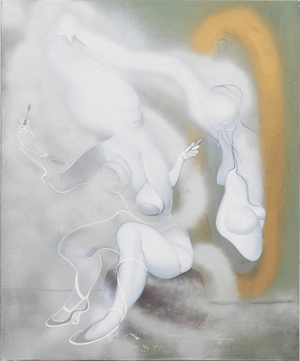 Cinderella, 2018, Enamel on canvas, 24 x 20 inches