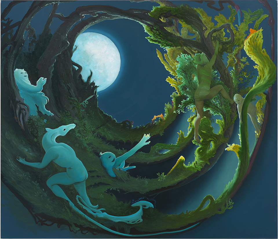 Moon Creatures, 2015, Oil on canvas, 62 x 72 inches