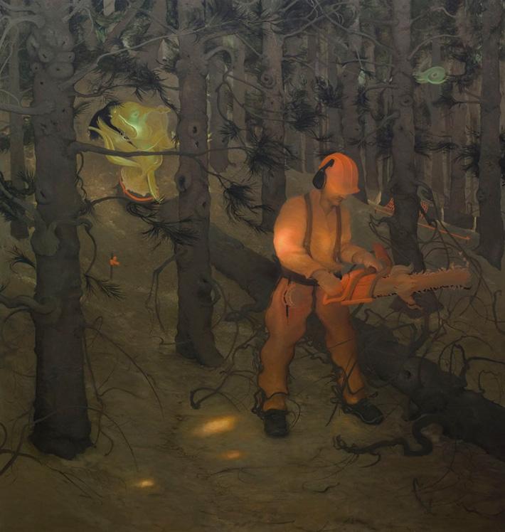 The Woodsman, 2012, Oil on canvas, 72 x 68