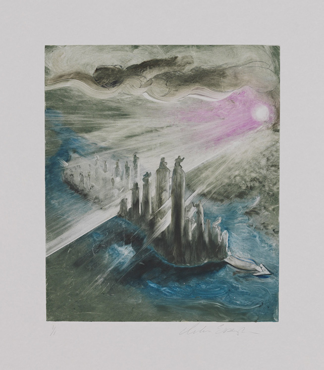 Manhattanhenge, 2012, Painted monotype printed from a steel matrix, Image size: 13 5/8 x 11 1/2 inches