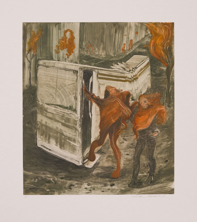 Two Girls, 2011, Painted monotype printed from a steel matrix, Image size: 17 3/4 x 15 3/4 inches