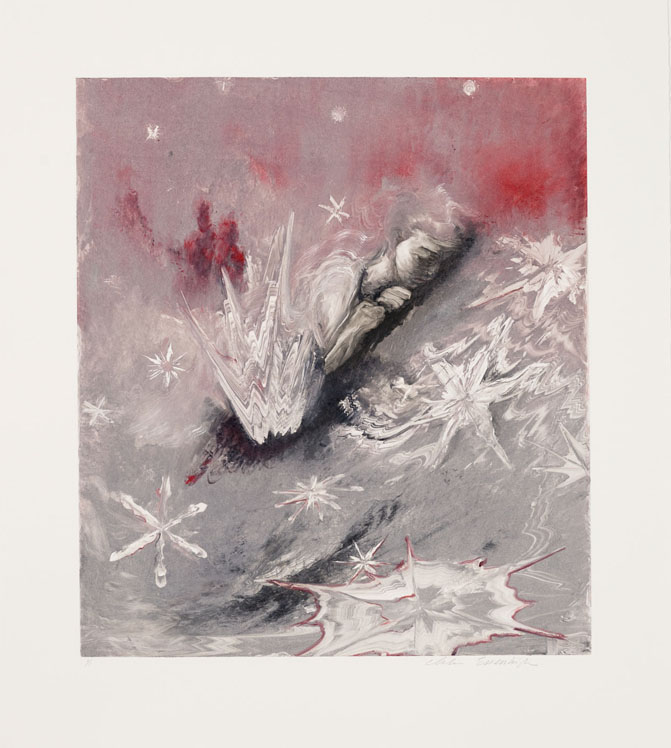 Snow Flakes, 2011, Painted monotype printed from a steel matrix, Image size: 17 3/4 x 15 3/4 inches