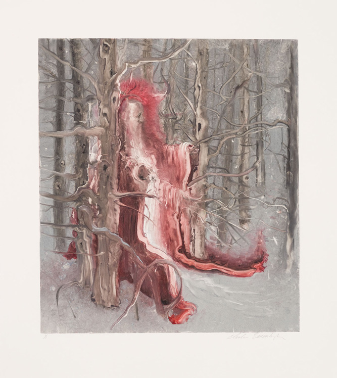 Saint in the Snow, 2011, Painted monotype printed from a steel matrix, Image size: 17 3/4 x 15 3/4 inches