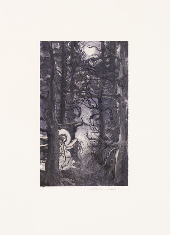 Full Moon and Spruce, 2011, Painted monotype printed from a steel matrix, Image size: 10 x 16 1/8 inches