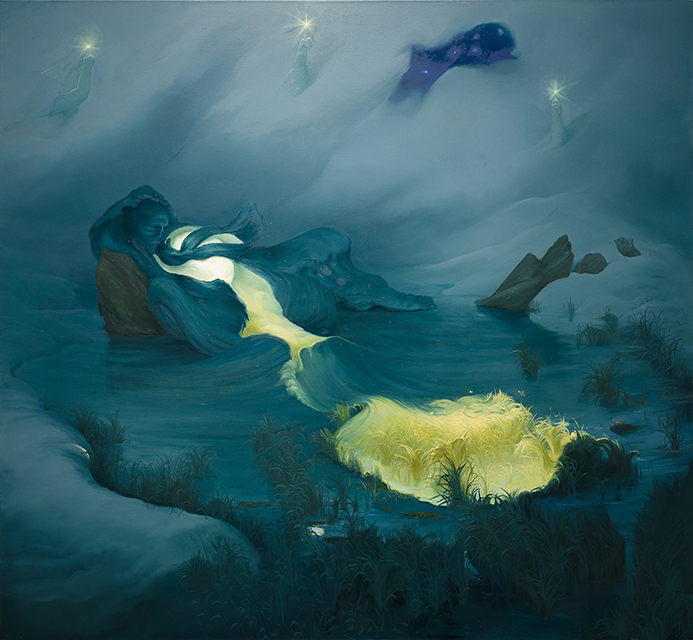 Moon and Tide, 2010, Oil on canvas, 70 x 76 inches