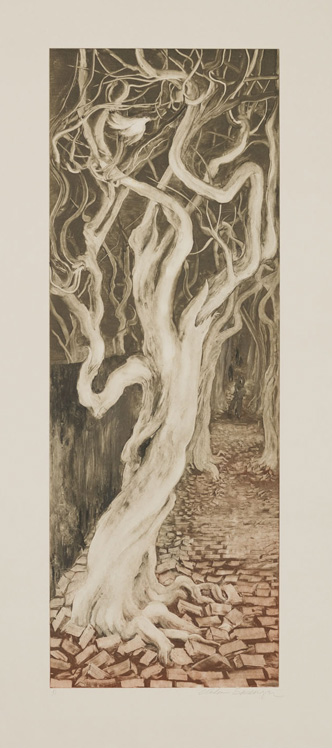 Trees in Central Park, 2010, Painted monotype printed from a steel matrix, Image size: 27 1/2 x 10 inches