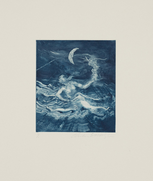 Neptune, 2010, Painted monotype printed from a steel matrix, Image size: 6 1/8 x 5 1/4 inches