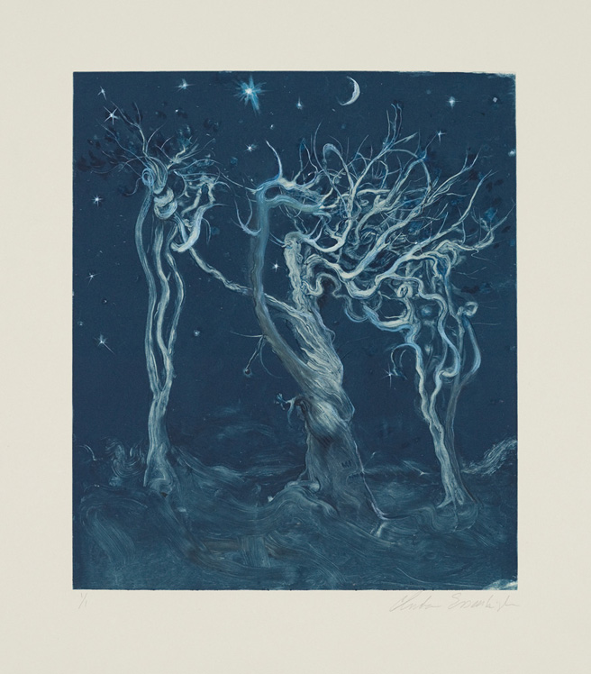 Ancient Trees, 2010, Painted monotype printed from a steel matrix, Image size: 13 3/4 x 11 3/4 inches